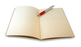 El cuaderno de Brown se abrió y mirada del inconformista de los vidrios del ojo aislado en w Imagen de archivo libre de regalías