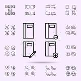 el cuaderno, escribe, icono del signo de menos m?s, sistema universal de los iconos del web para el web y el m?vil ilustración del vector