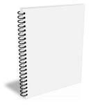 El cuaderno espiral en blanco cerró la cubierta vacía del ebook Foto de archivo