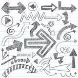 El cuaderno incompleto de las flechas Doodles el conjunto del vector Imágenes de archivo libres de regalías
