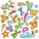 El cuaderno psicodélico de las estrellas Doodles elementos del vector stock de ilustración