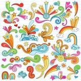 El cuaderno psicodélico de las estrellas Doodles elementos del vector ilustración del vector