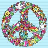 El cuaderno psicodélico de la muestra de paz Doodles vector Foto de archivo
