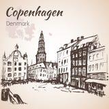 El cuadrado central - Copenhague ilustración del vector