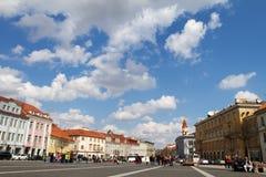 El cuadrado de ayuntamiento en Vilnius, Lituania Foto de archivo