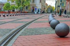 El cuadrado de la calle de la libertad en Timisoara Foto de archivo