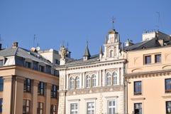 El cuadrado de mercado en krakov fotos de archivo