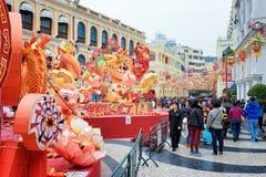 El cuadrado de Senado en Macao adornó por el Año Nuevo chino Foto de archivo libre de regalías