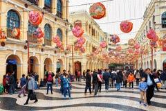 El cuadrado de Senado en Macao adornó por el Año Nuevo chino Imagen de archivo libre de regalías