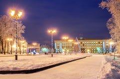 El cuadrado de Sofía durante los días de fiesta del Año Nuevo en Veliky Novgorod Foto de archivo