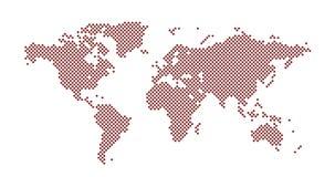 El cuadrado del mapa del mundo punte? el estilo, ejemplo del vector aislado en el fondo blanco imagen de archivo