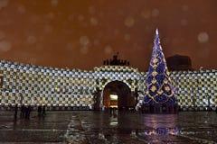 El cuadrado del palacio vendrá vivo con la demostración de la luz de las multimedias dedicada a 2016 de final de año Imagen de archivo libre de regalías