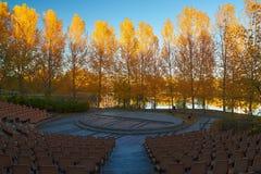 El cuadrado y los árboles de oro Fotografía de archivo