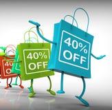 El Cuarenta-por ciento de ventas de la demostración de los bolsos y de 40 descuentos Foto de archivo libre de regalías