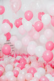 El cuarto con los globos rosados Fotografía de archivo libre de regalías
