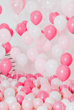 El cuarto con los globos rosados Imagen de archivo