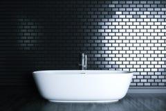 El cuarto de baño del minimalismo en el interior negro 3D rinde la versión 4 Imagen de archivo libre de regalías