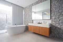 El cuarto de baño real interior hermoso de lujo ofrece el lavabo, la taza del inodoro en la casa o la construcción foto de archivo