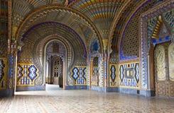 El cuarto magnífico del pavo real dentro del Sammezzano abandonó el castillo Imagenes de archivo