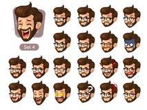El cuarto sistema de emociones faciales del inconformista barbudo con los vidrios stock de ilustración