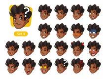 El cuarto sistema de las emociones faciales masculinas con el pelo rizado stock de ilustración