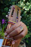 El Cuatro, Venezuelan musical instrument. El Cuatro, a typical Venezuelan musical instrument, made of wood and strings, with inlaid wood decorations and tricolor Stock Photo