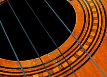 El Cuatro Venezuelan musical instrument. El Cuatro, a typical Venezuelan musical instrument, made of wood and strings, with inlaid wood decorations and tricolor Royalty Free Stock Image