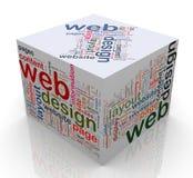 el cubo 3d con ?diseño de Web? marca con etiqueta Imágenes de archivo libres de regalías