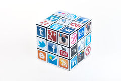 El cubo de Rubick social de los media Fotografía de archivo