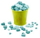 El cubo de Valentine Metallic llenado dirige factores. Imagen de archivo libre de regalías