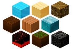 El cubo isométrico 3D texturiza el vector fijado para los juegos de ordenador libre illustration