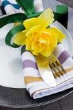 Porción de los cubiertos con la flor del narciso Foto de archivo