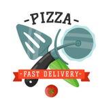 El cuchillo y la espátula de la pizza de la entrega badge el ejemplo del vector Fotografía de archivo libre de regalías