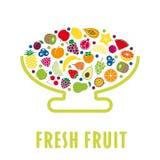 El cuenco de fruta plano del diseño aisló libre illustration