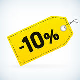 El cuero amarillo detalló etiquetas de precio de la venta -10% del negocio Imagen de archivo