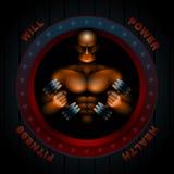 El cuerpo de Man Fitness Gym del atleta Muscles pesas de gimnasia stock de ilustración