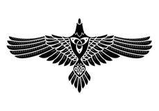 El cuervo de Odin, en los nórdises, de estilo celta ilustración del vector