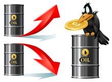 El cuervo se sienta en un barril de petróleo y lleva a cabo símbolo del dólar Barriles de petróleo con arriba y abajo de las flec Imagenes de archivo