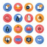 El cuidado del cliente entra en contacto con los iconos planos fijados Foto de archivo
