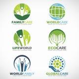 El cuidado y el mundo de la familia cuidan diseño determinado del vector del logotipo ilustración del vector