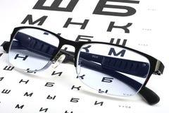 El cuidar para la vista del ojo por los vidrios apropiados Fotos de archivo