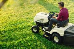 El cultivar un huerto con la hierba masculina joven del corte Cortacésped industrial en la acción Foto de archivo libre de regalías