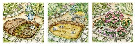 El cultivar un huerto de arbustos color de rosa stock de ilustración