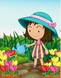 El cultivar un huerto de la muchacha stock de ilustración