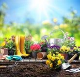 El cultivar un huerto - equipo para el jardinero imagen de archivo libre de regalías