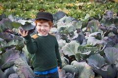 El cultivar un huerto joven del muchacho Foto de archivo libre de regalías