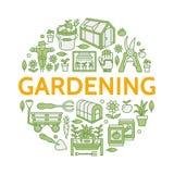 El cultivar un huerto, plantando la horticultura coloreó la bandera con la línea icono del vector Equipo de jardín, semillas orgá Imagen de archivo libre de regalías