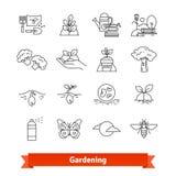 El cultivar un huerto y horticultura Línea fina iconos fijados Fotos de archivo libres de regalías