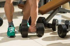 El culturista coge pesas de gimnasia imagen de archivo