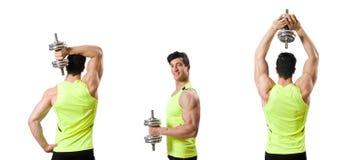 El culturista rasgado muscular con pesas de gimnasia foto de archivo libre de regalías